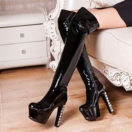 Crystal Heel Platform Thigh High Boots