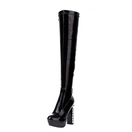 PU Crystal Heel Thigh High Boots
