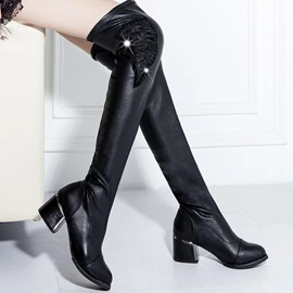 Black Rhinestone Square Heel Thigh High Boots