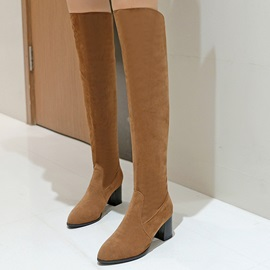 Solid Color Suede Chunky Heel Over Knee Boots