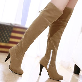 Elegant PU Lace-Up Over Knee Boots
