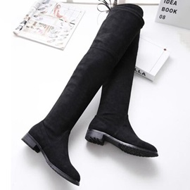 Suede Square Heel Over Knee Boots