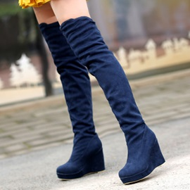 Solid Color Suede Wedge Heel Over Knee Boots