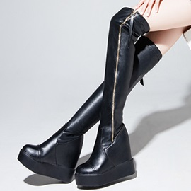 Black Zippered Wedge Heel Over Knee Boots