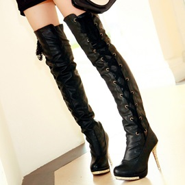 Faux Leather Stiletto Heel Over Knee Boots