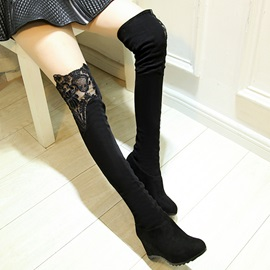 Lace Patchwork Round Toe Slim Wedge Boots