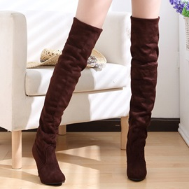 Solid Color Suede Stiletto Heel Thigh High Boots