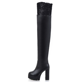 Faux Leather Chunky Heel Over Knee Boots