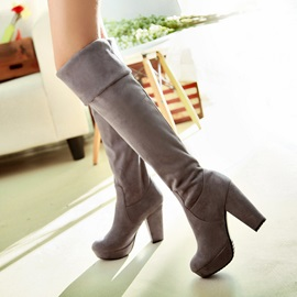 Suede Slip-On Block Heel Thigh High Boots