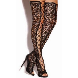 Lace Buckle Thigh High Fashion Boots