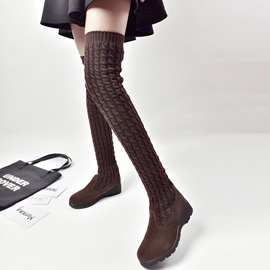 Suede Slip-On Thread Knee High Boots