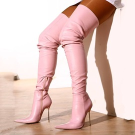 PU Side Zipper Stiletto Heel Women's Thigh High Boots