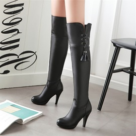 PU Slip-On Tassel High Heel Women's Thigh High Boots