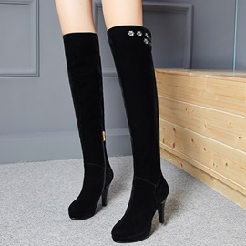 PU Embroidery Side Zipper Black High Heel Women's Knee High Boots