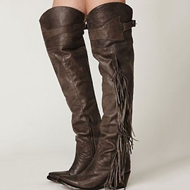 Retro Brown Flat Combat Knee High Boots