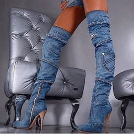 Appliques Side Zipper Stiletto Women's Boots