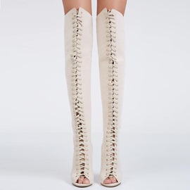 Beige PU Lace-Up Stiletto Heel Women's Thigh High Boots