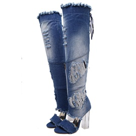 Denim Hollow Worn Zipper Women's Boots