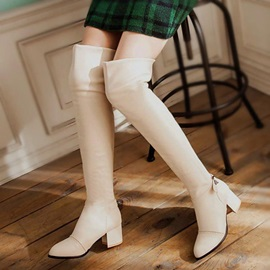 PU Buckle Block Heel Plain Women's Fashion Boots