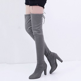 Faux Suede Lace-Up Stiletto Side Zipper Women's Boots
