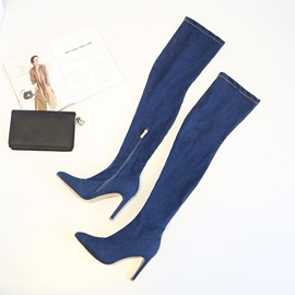Denim Side Zipper Pointed Toe Print Thigh High Boots