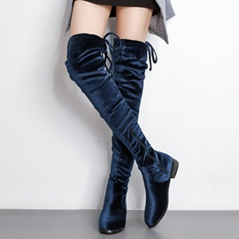 Faux Suede Lace-Up Side Zipper Women's Boots