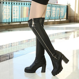 PU Side Zipper Chunky Heel Women's Black Boots