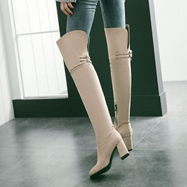 Faux Suede Buckles Chunky Heel Women's Boots