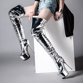 PU Lace-Up Platform Side Zipper Silver Thigh High Boots