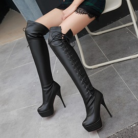 PU Lace-Up Stiletto Plain Thigh High Boots