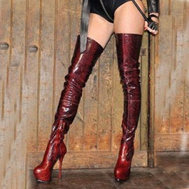 PU Side Zipper Stiletto Burgundy Thigh High Boots