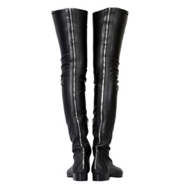 Faux Leather Pointed Toe Plain Women's Black Thigh High Boots