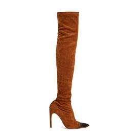 Faux Suede Patchwork Pointed Toe Thigh High Boots