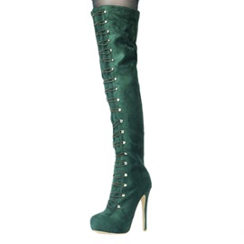 Faux Suede Slip-On Stiletto Thigh High Boots