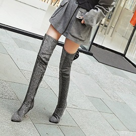 Pointed Toe Chunky Heel Women's Thigh High Boots