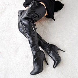 Plain Pointed Toe Stiletto Heel Over The Knee Boots
