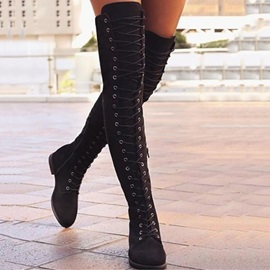 Round Toe Plain Side Zipper Vintage Otk Boots