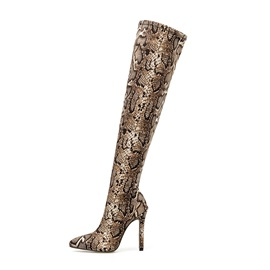 Slip-On Stiletto Heel Pointed Toe Serpentine Otk Boots