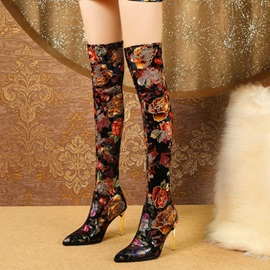 Floral Slip-On Pointed Toe Patchwork Thigh High Boots