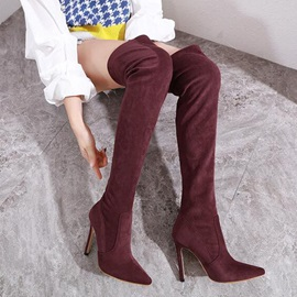 Stiletto Heel Pointed Toe Slip-On Thigh High Boots