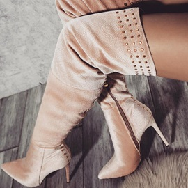 Customized Suede Stiletto Heel Side Zipper Thigh High Boots