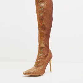 Pointed Toe Stiletto Heel Plain Casual Boots