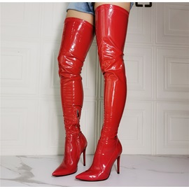 Stiletto Heel Pointed Toe Plain Casual Boots