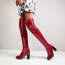 Side Zipper Plain Chunky Heel Rhinestone Boots