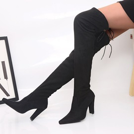 Chunky Heel Lace-Up Back Pointed Toe Short Floss Boots