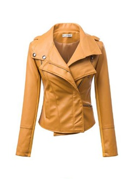 New Chic Stylish Pure Color Lapel PU Jacket