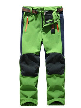 Contrast Color Fleece Windproof Kids Outdoor Pant