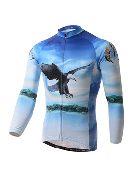 Eagle-Print Polyester Cycle Jersey