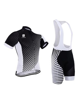 Polyester Polka Dots Men's Bike Jersey And Bib Shorts