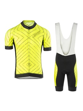 Polyester Striped Print Bike Jersey And Bib Shorts
